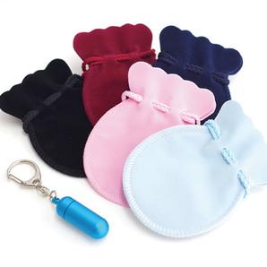 ブルー遺骨カプセルキーホルダー 巾着(金箔押し無)付き5個セット Sサイズ